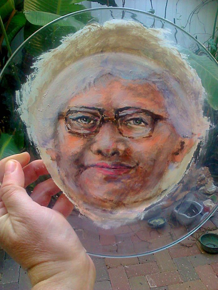 איריס קובליו, אקריליק על צלחת זכוכית, 2010