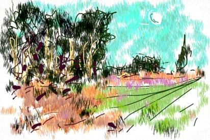 איריסיה קובליו, פארק הרצליה לעת ערב, ספטמבר, 2013, רישום דיגיטאלי באייפון.