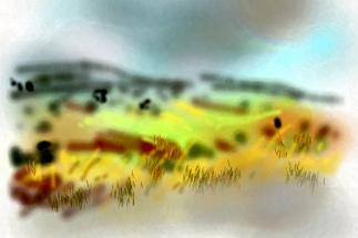 איריסיה קובליו, נוף מנווה שלום, ציור דיגיטאלי באייפון, אוקטובר 2013