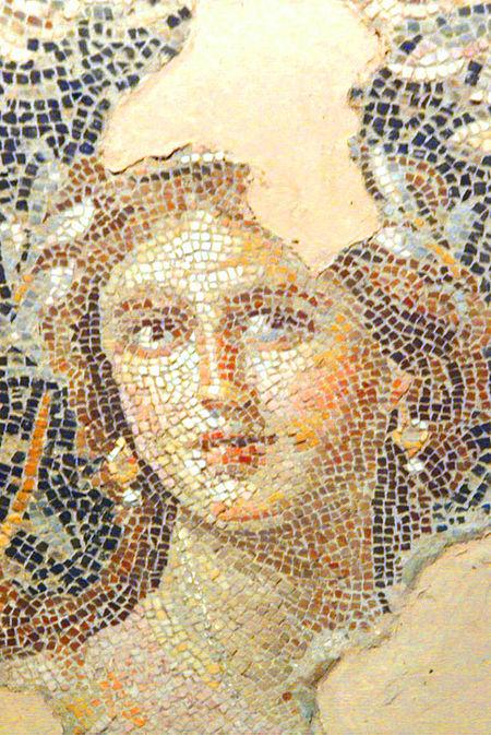 מונה היפה מציפורי (בעתיקות הפסיפס שבגן הלאומי, כינוייה מונה ליזה, הצילום מויקיפדיה)