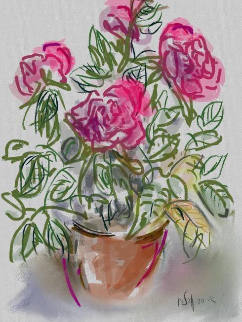 איריס קובליו, ורדים, ציור אייפד, אוקטובר 2014