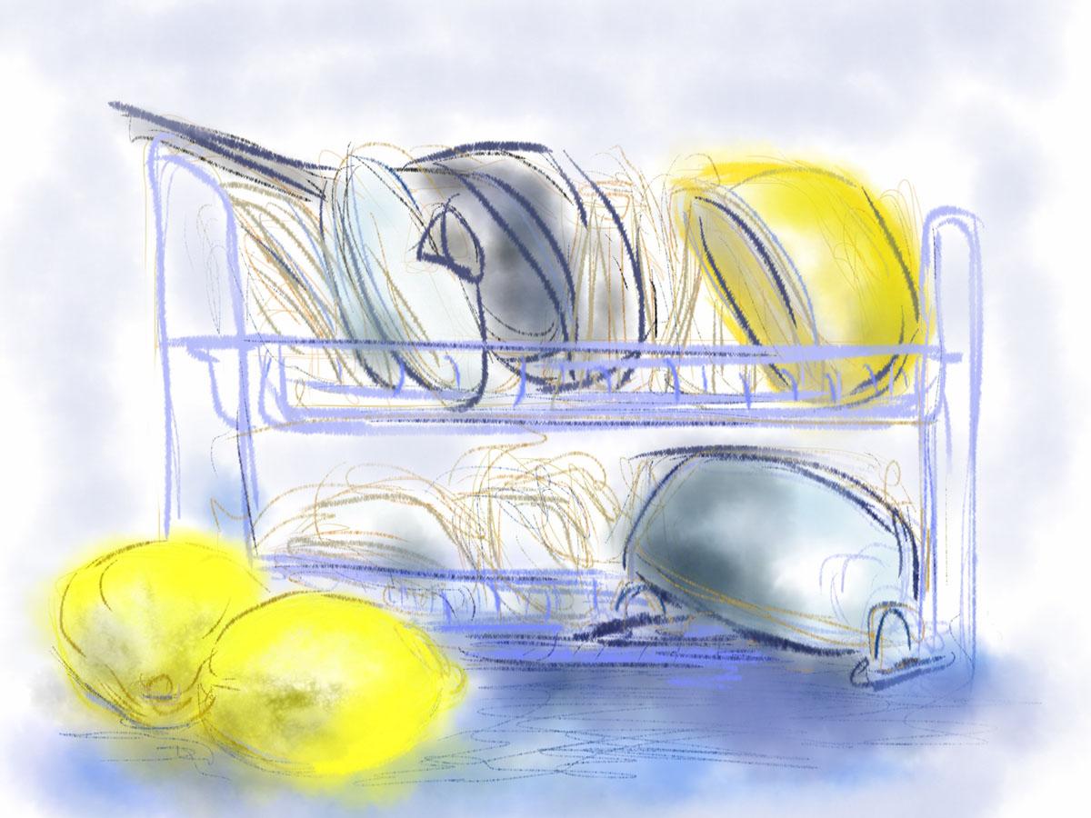 איריס קובליו, במטבח 3, ציור אייפד