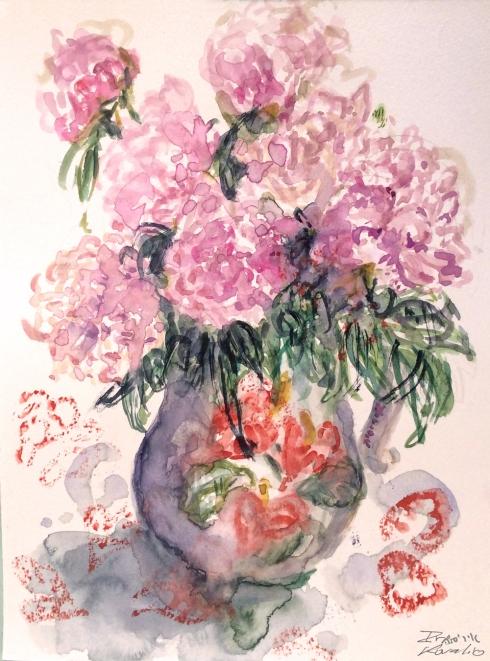 איריס קובליו, פרחים לדורית, אקוורל, אפריל מאי 2014