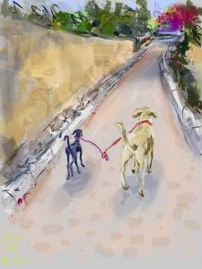 סקאיי וקושקה יוצאים לטייל, ציור אייפד, קיץ 2014